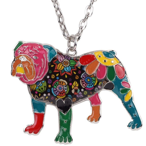 Bulldog Exclusive Colorful Flora Pattern Necklace - Jewelry