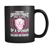 Never Underestimate The Love Of A Woman For Her Golden Retriever Black Mug - Drinkware