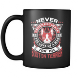 Never Underestimate The Love Of A Man For His Boston Terrier Black Mug - Drinkware
