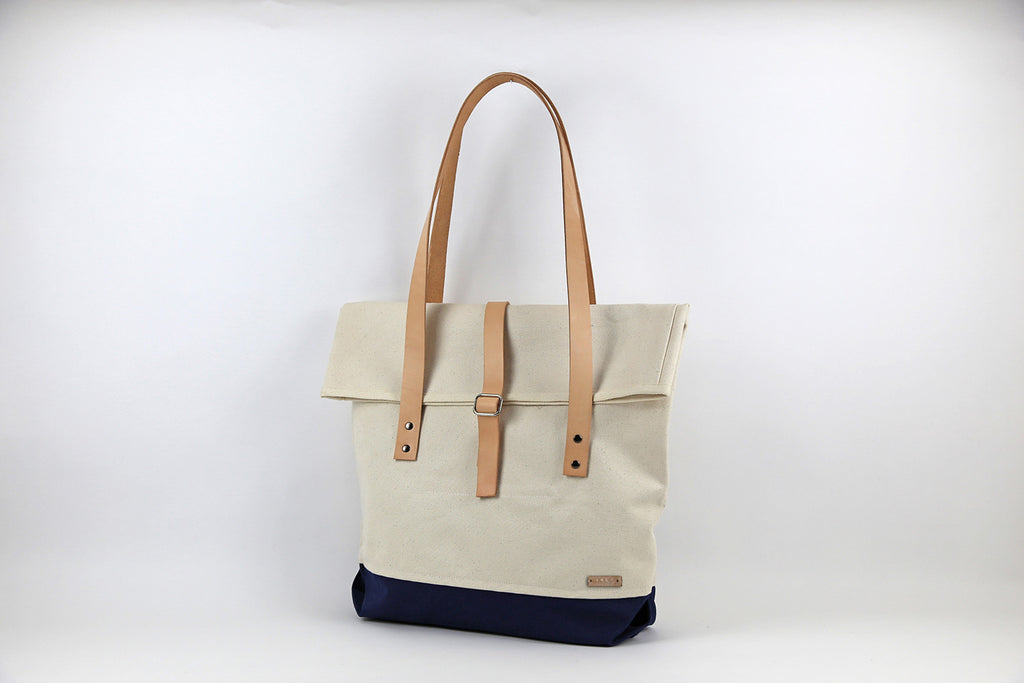 Natural Roll Top Traveller Tote