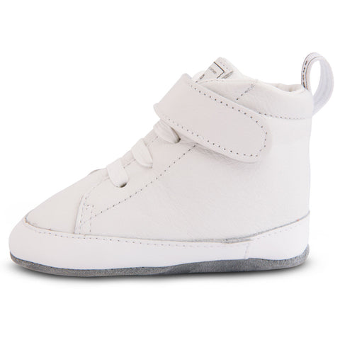 103269 Shooshoos - 5th Avenue White High Top Soft Leather Baby Shoes