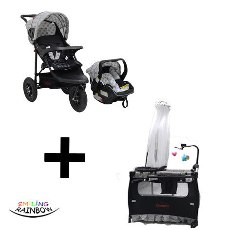 Chelino Tiffany Black Leaf Baby Camp Cot and Urban Detour JTS three wheeler jogger stroller