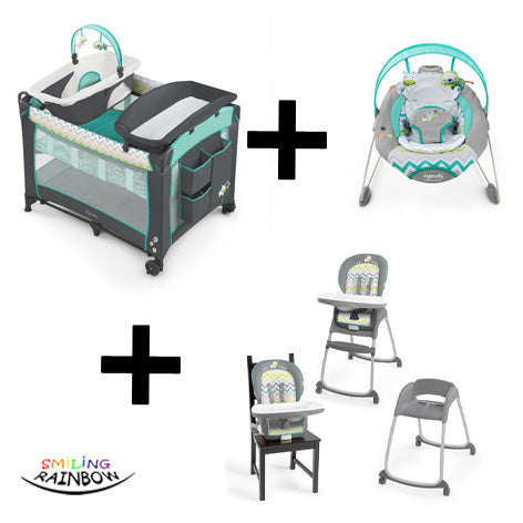 Ingenuity Ridgedale Set | Baby Camp Cot + Bouncer + Feeding Chair