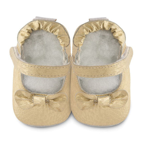 Shooshoos - Elegance Soft Leather Gold Baby Shoes
