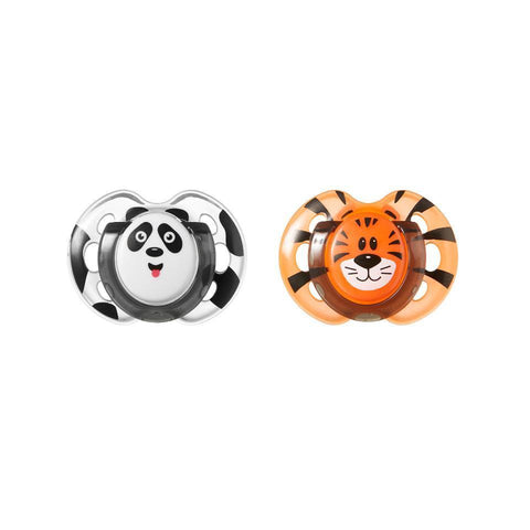 Tommee Tippee Closer To Nature Fun Style Orthodontic Soothers 0-6 months - 2 Pack (Panda/Tiger)