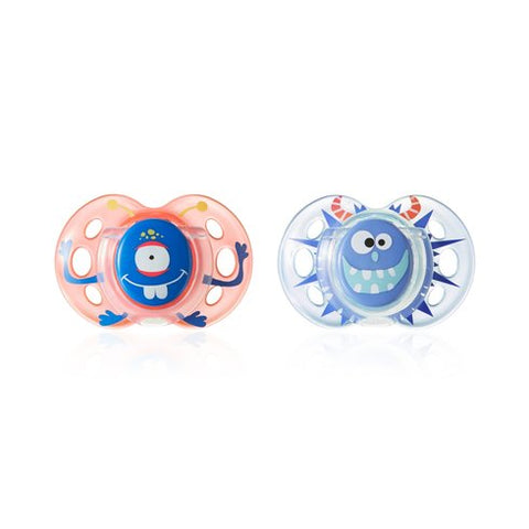 Tommee Tippee Closer To Nature Fun Style Boys Orthodontic Soothers 18-36 months - 2 Pack