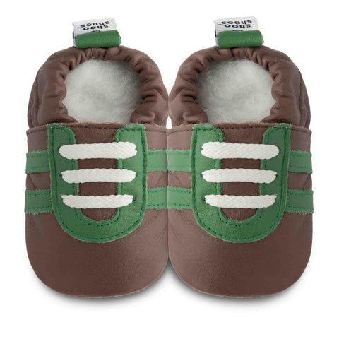 Shooshoos - Mason Brown and Green Baby Sneakers