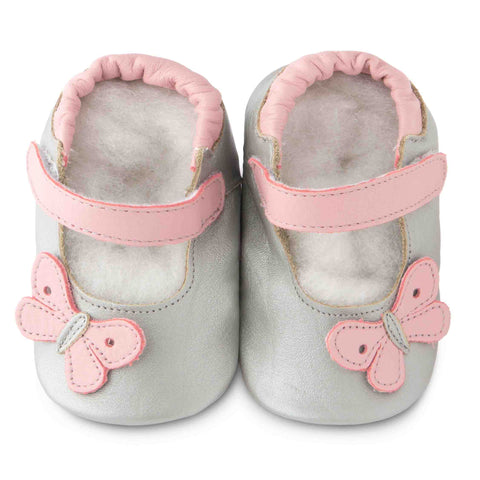 shooshoos girls shoes baby ballet silver pink butterfly