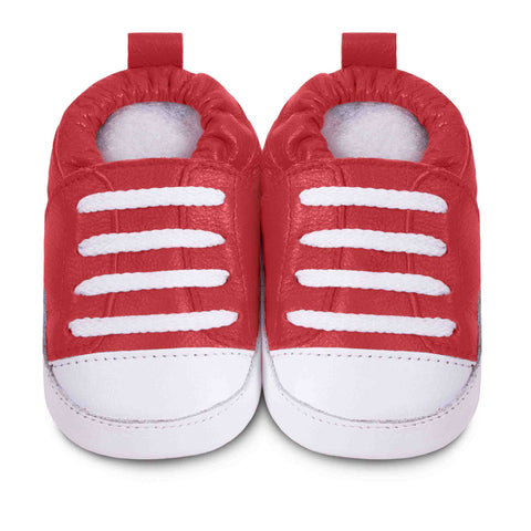 shooshoos baby shoes red clay top sneakers leather