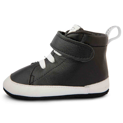 Shooshoos - Space Jamming Black & White High Top Soft Leather Baby Shoes