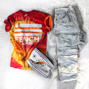 Aspire red/yellow tie dye tee white print - unisex