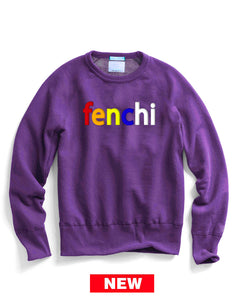 Colors print purple sweatshirt -unisex