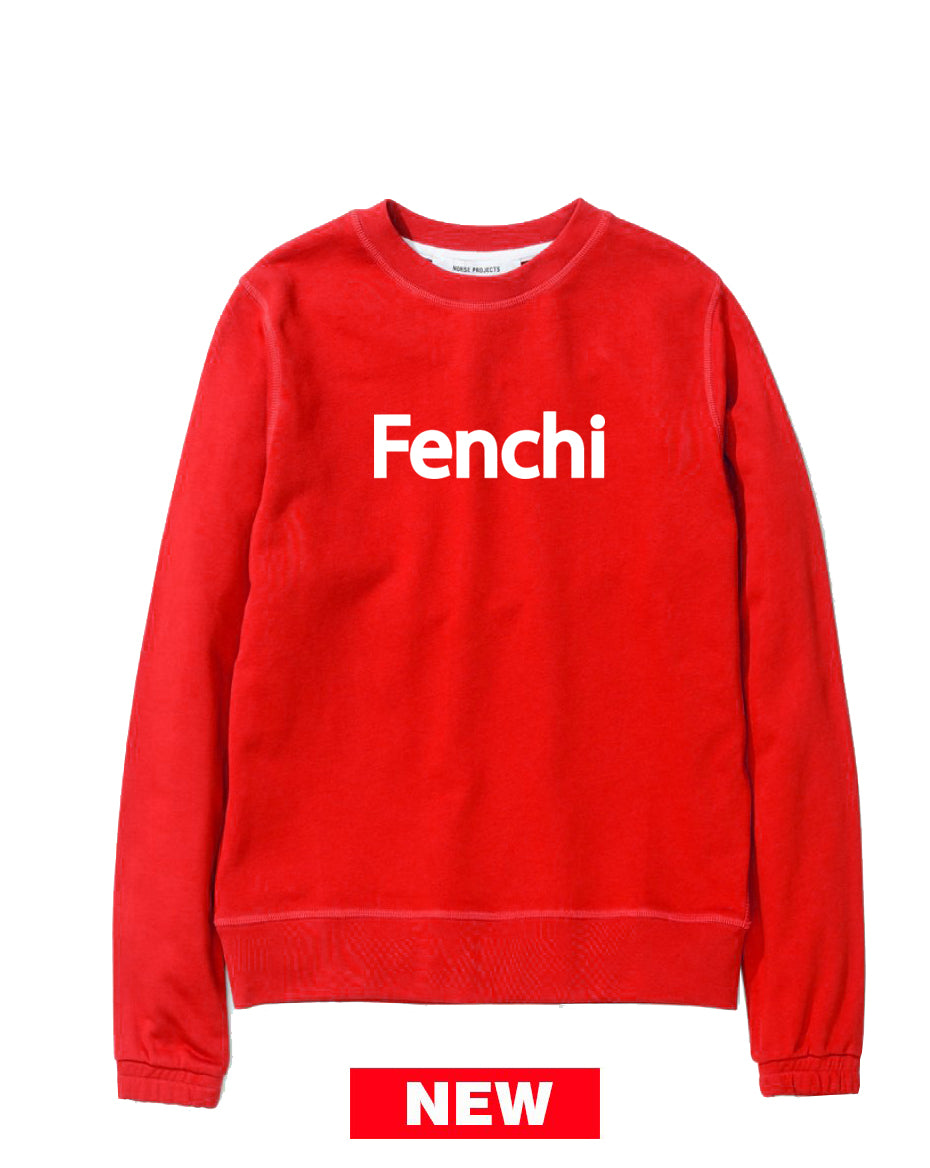 Fenchi text white print red sweatshirt-unisex