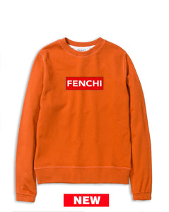 Logo red/white print orange sweatshirt-unisex