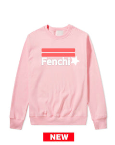 Star pink watermelon/white print light pink sweatshirt-unisex