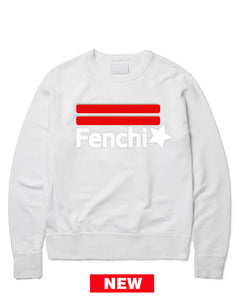 2.0 red/white print white sweatshirt-unisex