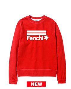 Star white print red sweatshirt-unisex