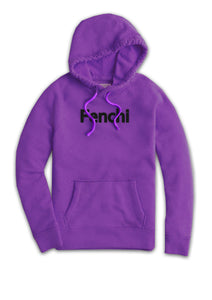 Fenchi text black print purple hoodie - unisex