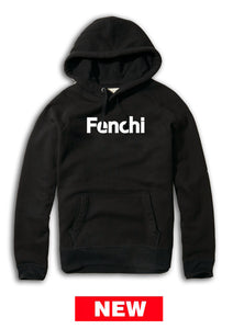 Fenchi text white print black hoodie -unisex