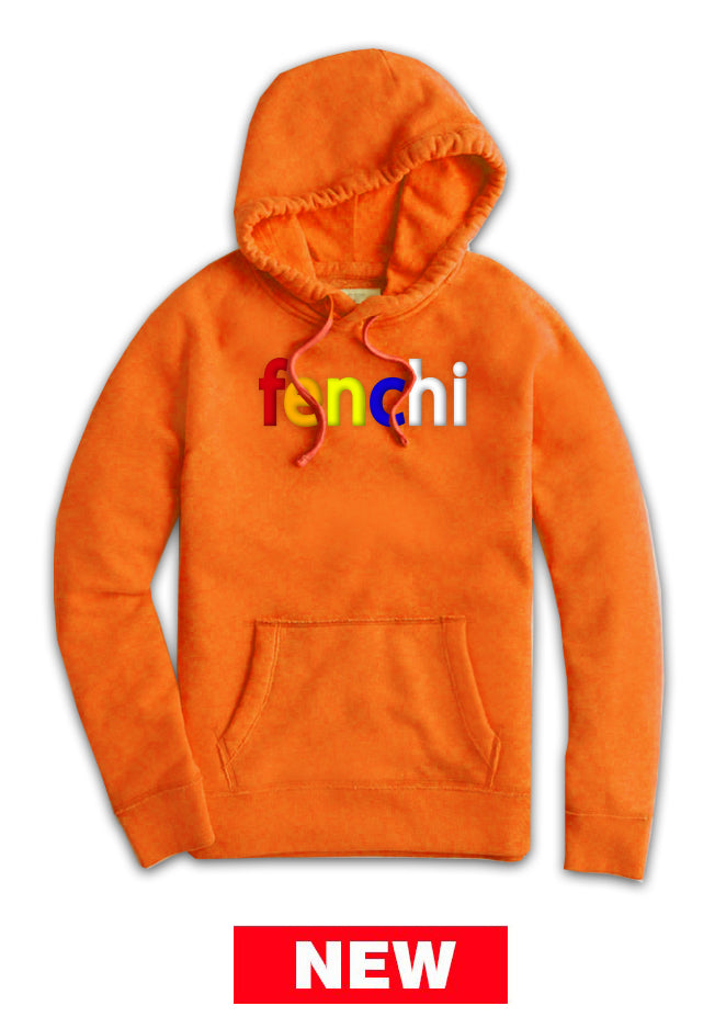 Colors print orange hoodie -unisex