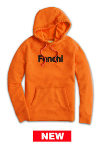 Fenchi text black print orange hoodie -unisex