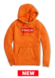 Logo red/white print orange hoodie -unisex
