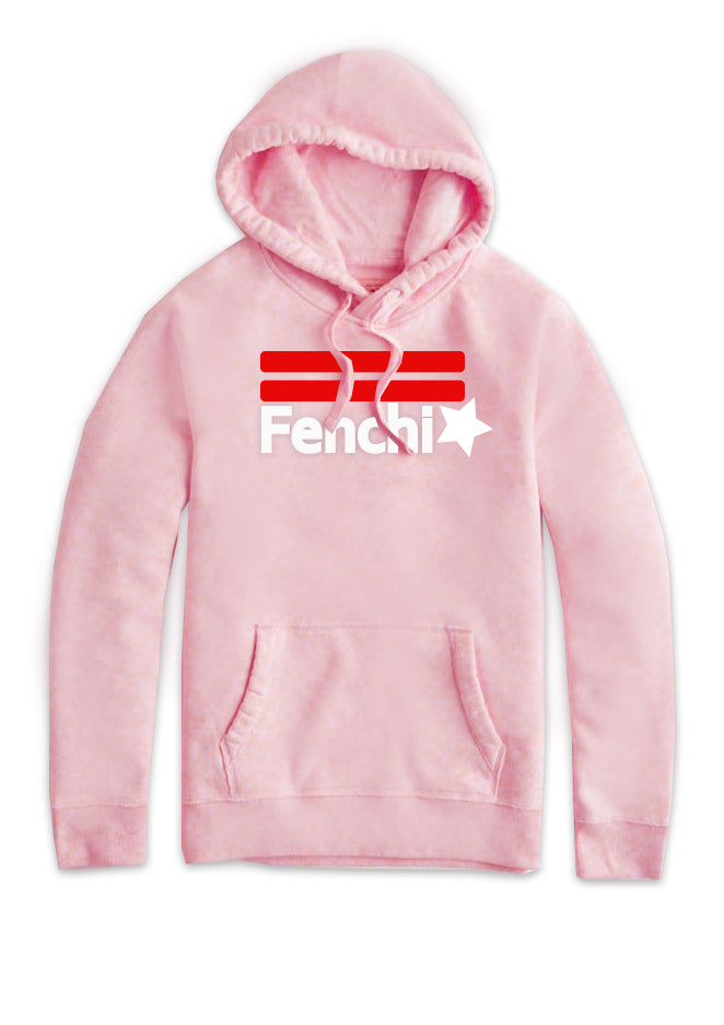 Star red/white print light pink hoodie - unisex