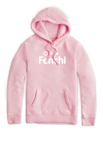Characters white print light pink hoodie - unisex