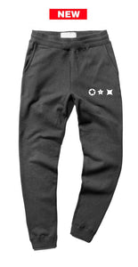 Characters white print charcoal joggers - unisex (baggy fit)