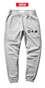 Characters black print heather grey joggers - unisex (baggy fit)