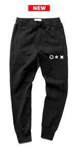 Characters white print black joggers - unisex (baggy fit)