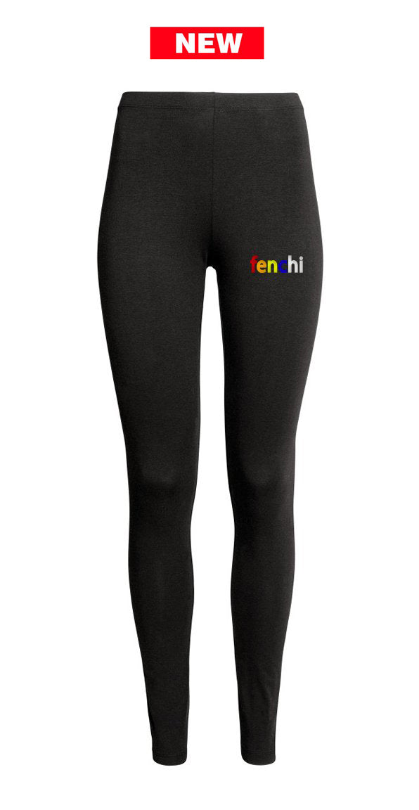Colors print black leggings- women only