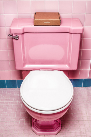 image of a pink toilet - slim wallet