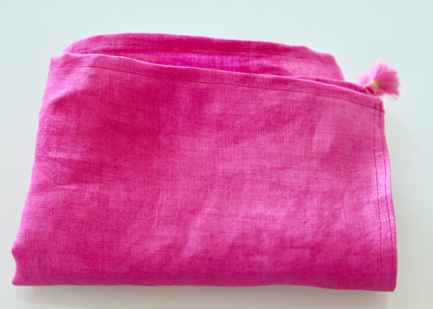 Pure Linen Sash - Pink Vegetable Dyed.