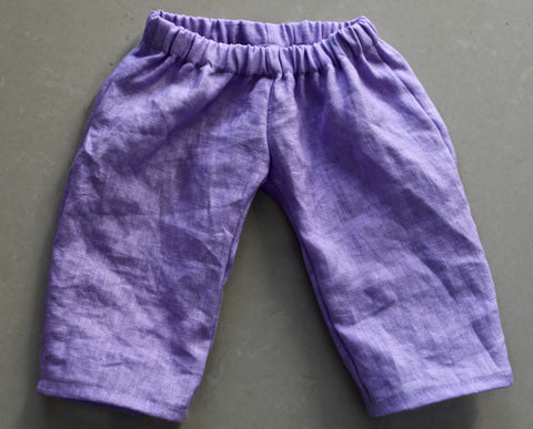Pure Linen Little Girl's Pants - Light Purple (Vegetable Dyed)
