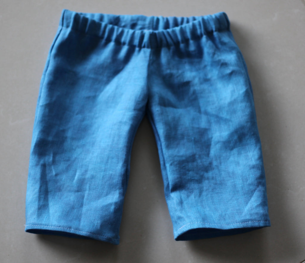 Pure Linen Little Girl's Pants - Blue