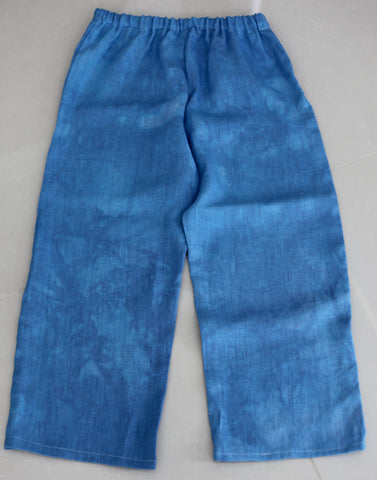 Pure Linen Women's Long Pants - Petite Size - Blue