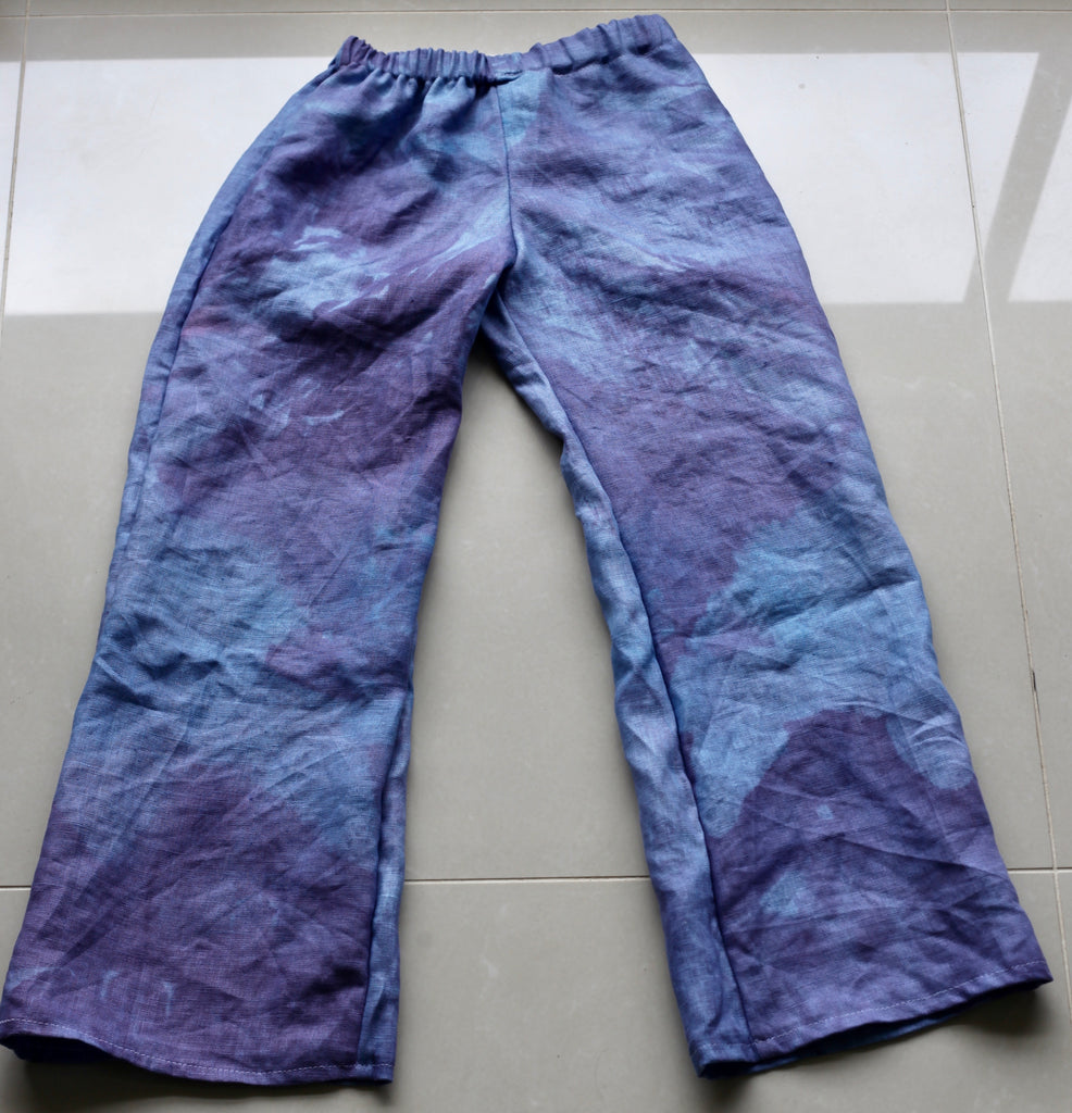 Pure Linen Little Girl's Long Pants  - (Vegetable Dyed Linen)
