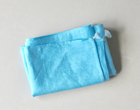 Pure Linen Sash - Turquoise (Vegetable Dyed)