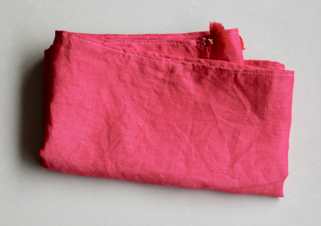 Pure Linen Sash - Red (Vegetable Dyed)