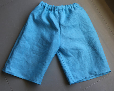 Pure Linen Girl's Shorts - Turquoise (Vegetable Dyed) Size 8