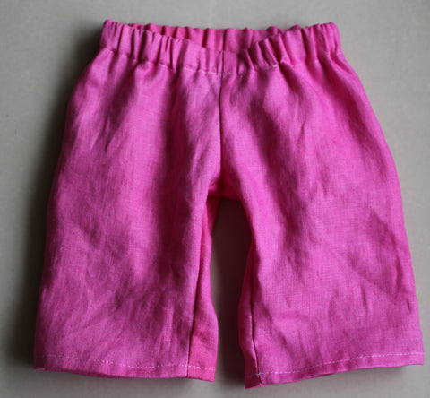 Pure Linen Little Girl's Pants - Bright Pink (Vegetable Dyed)