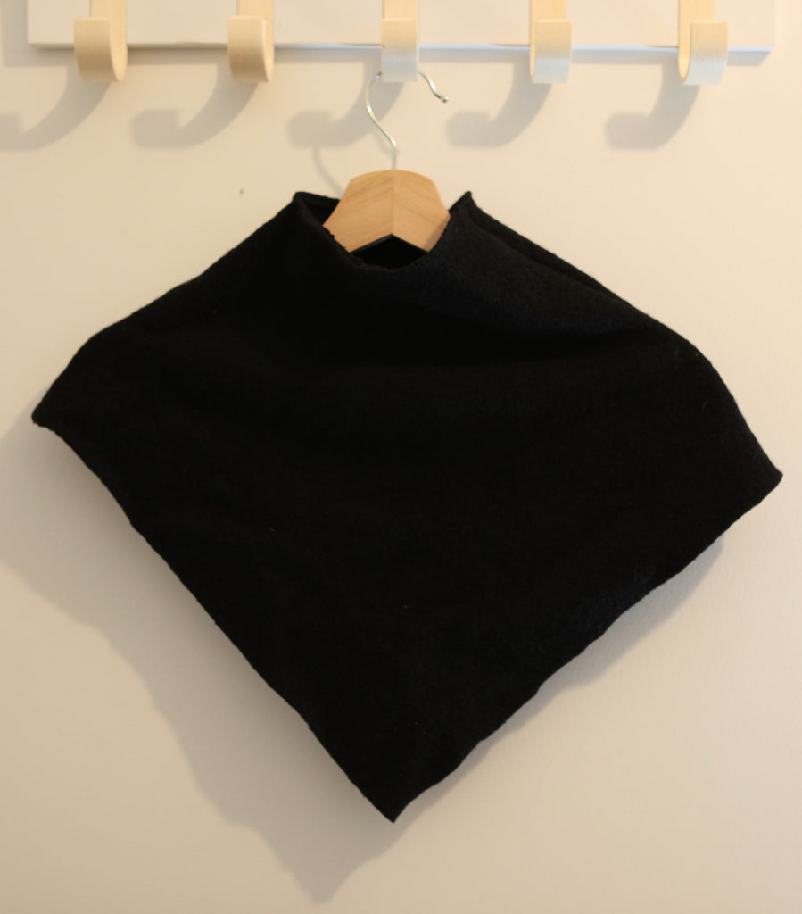 Little Girl's Black Wool Poncho - Size 2-4