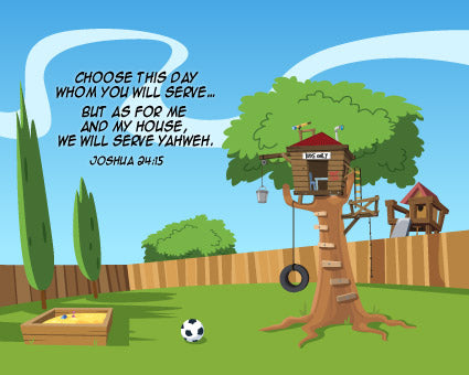 Joshua 24:15 Backyard Treehouse - Canvas Print