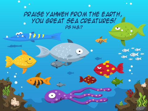 Psalm 148:7 Sea Creatures - Canvas Print