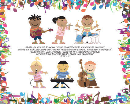 Psalm 150:3-6 Children with Musical Instruments - Canvas Print