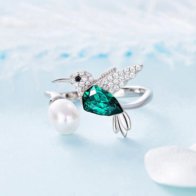 Adjustable Sterling Silver and Swarovski® Crystals Hummingbird Ring - FREE SHIPPING