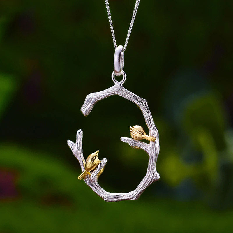 Sterling Silver Bird Couple Necklace - FREE SHIPPING