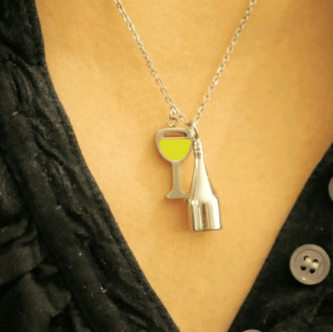 Image of Wine Glass And Bottle Necklace
