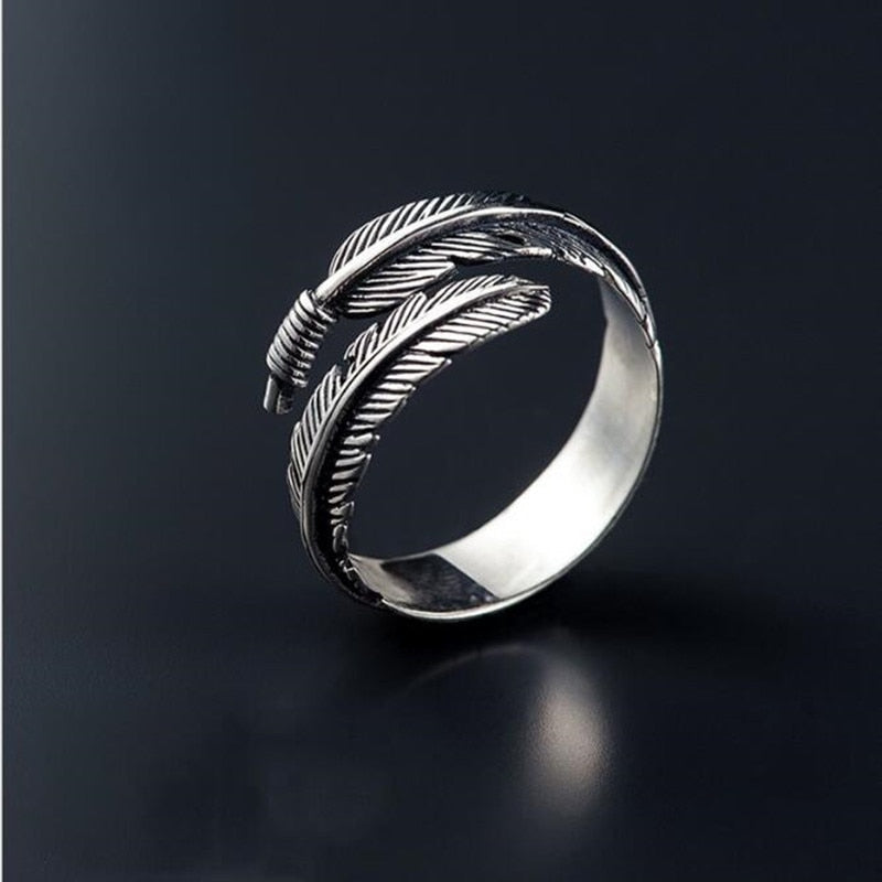 Adjustable Sterling Silver Bird Feather Ring - FREE SHIPPING